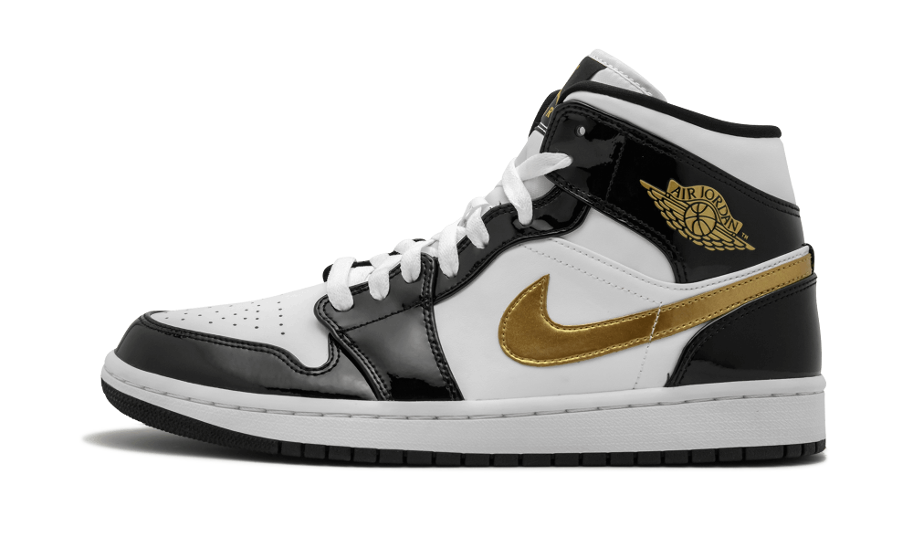 Air Jordan 1 Mid SE Black Gold Patent Leather - 852542-007 ...