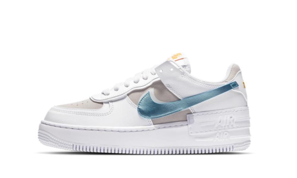 Nike Air Force 1 Shadow Glacier Ice Da4286 100 Restocks Кожа, синтетика, текстиль, пластик, резина. nike air force 1 shadow glacier ice