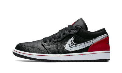 Air Jordan 1 Low Brushstroke Swoosh Black